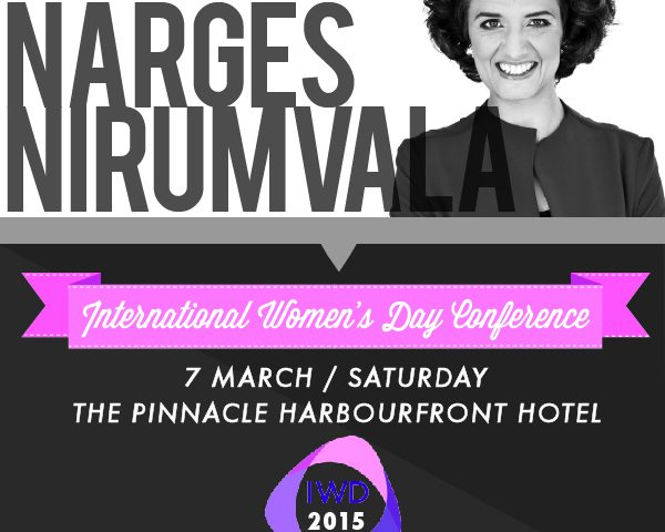 A Poster of Narges as the keynote speaker for the International Women's Day Conference on 7th March 2015